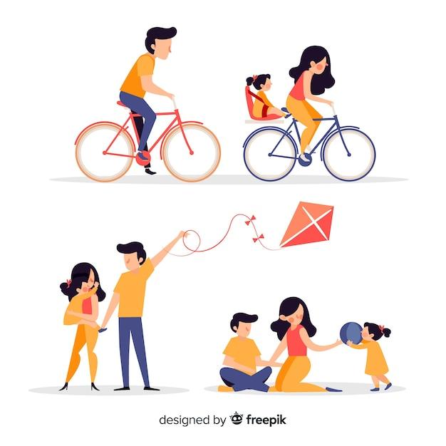 Pack situaciones exteriores en familia dibujadas a mano vector gratuito
