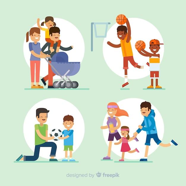 Pack situaciones exteriores en familia planas vector gratuito