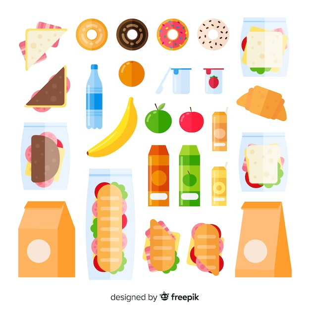 Pack de snacks insalubres vector gratuito