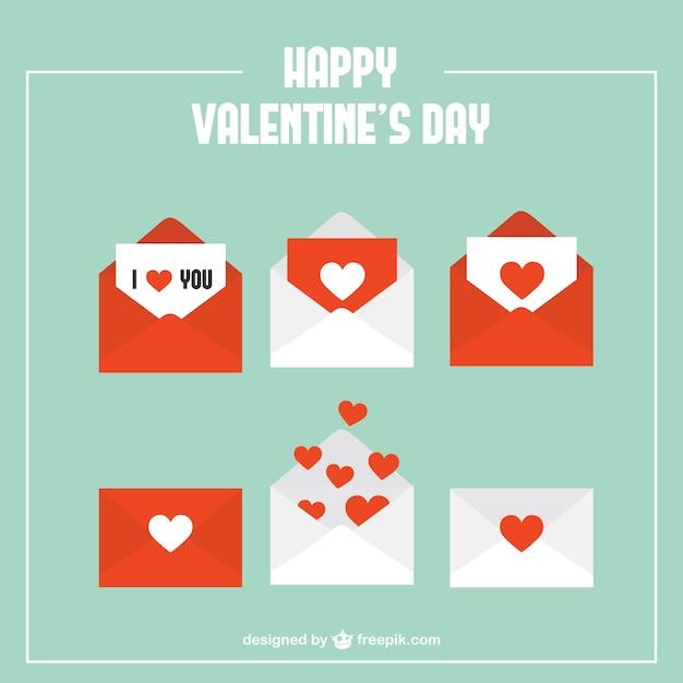 Pack de sobres con corazones vector gratuito