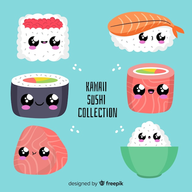Pack sushi kawai dibujado a mano vector gratuito