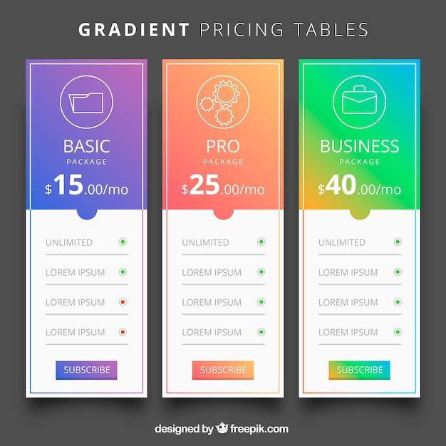 Pack de tabla de precios vector gratuito