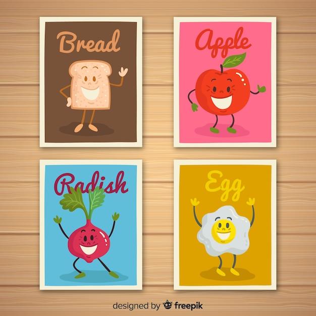 Pack tarjetas comida animada vector gratuito