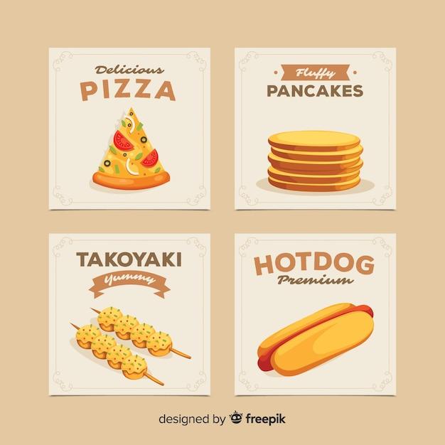 Pack tarjetas comida apetitosa vector gratuito