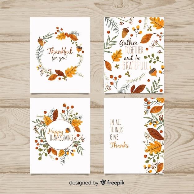 Pack de tarjetas de  día de acción de gracias  dibujadas a mano vector gratuito