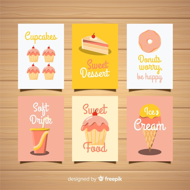Pack tarjetas dulces vector gratuito