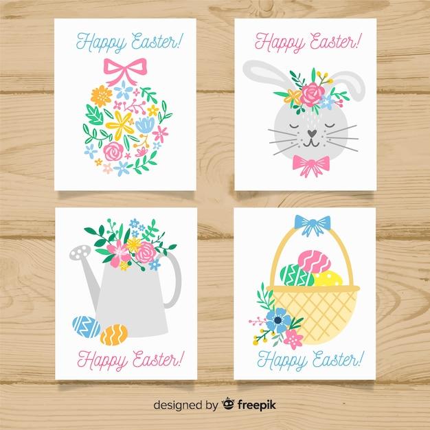 Pack tarjetas pascua florales vector gratuito