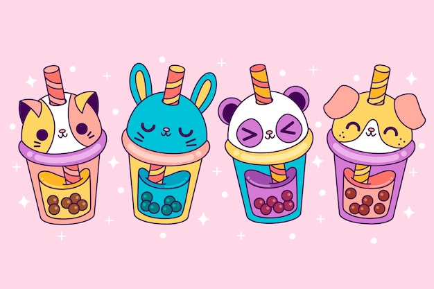 Pack de té de burbujas kawaii vector gratuito