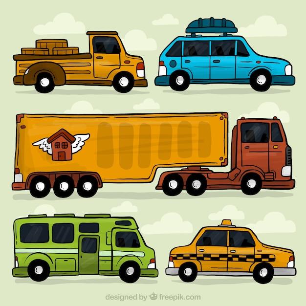 Pack de vehículos dibujados a mano vector gratuito