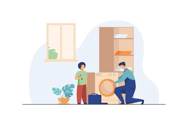 Padre arreglando lavadora y niño ayudándolo. vector gratuito