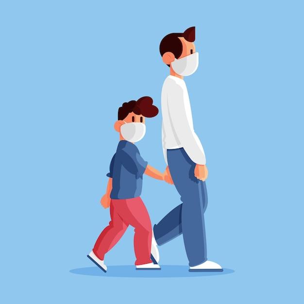 Padre caminando niño con máscara médica vector gratuito