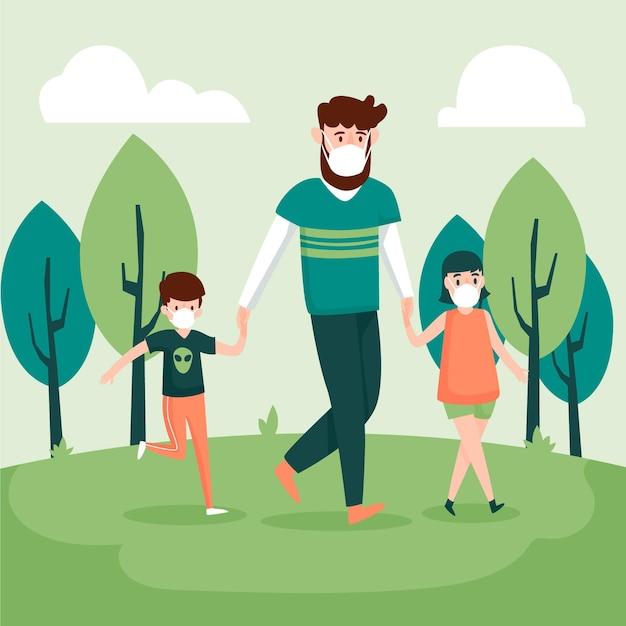 Padre caminando con niños usando máscaras médicas vector gratuito