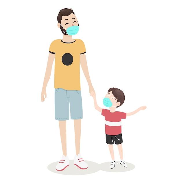 Padre caminando con su hijo vector gratuito