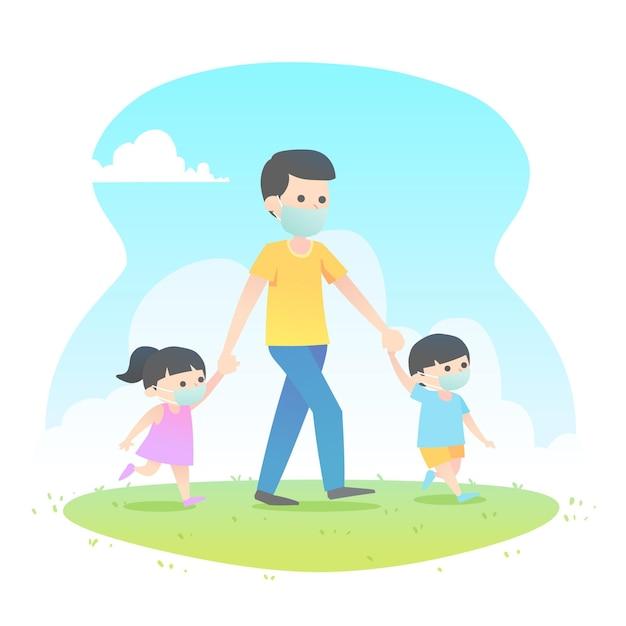 Padre caminando con sus hijos con máscaras médicas vector gratuito