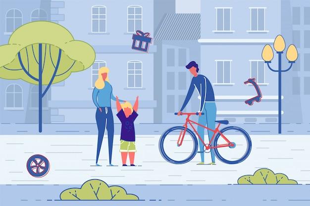 Padre dando bicicleta presente a hijo en la calle Vector Premium