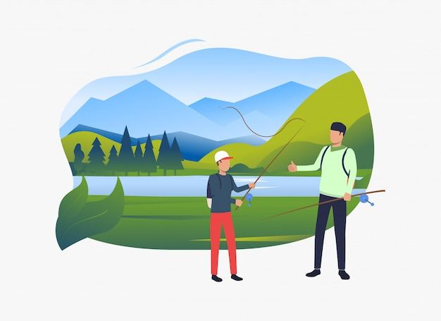 Padre e hijo con cañas de pescar, paisaje con lago vector gratuito