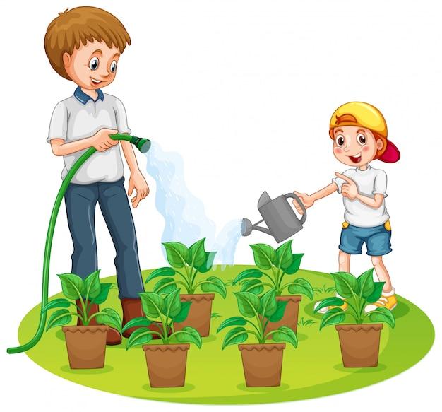 Padre e hijo regando las plantas en el jardín vector gratuito