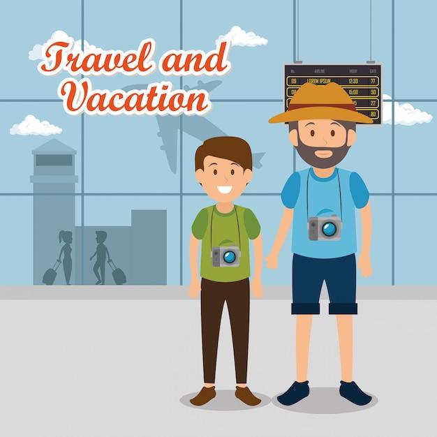 Padre e hijo viajeros en el aeropuerto personajes vector gratuito