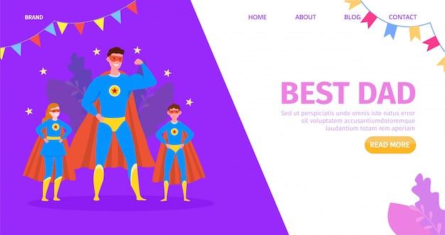 Padre héroe, niño feliz con dibujos animados mejor papá, ilustración. felicitación familiar, personaje infantil y padre. saludo Vector Premium