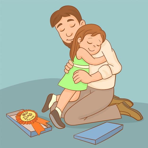 Padre y niña celebran juntos. Vector Premium