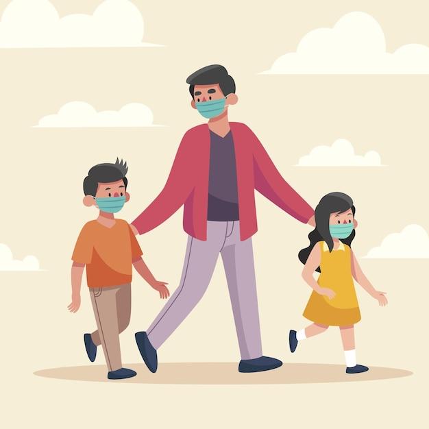 Padre paseando a los niños al aire libre con máscaras médicas Vector Premium