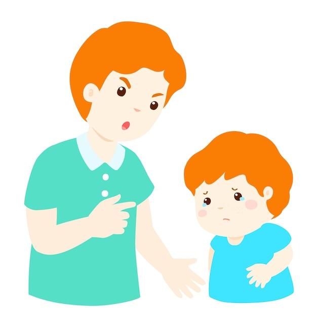 Padre regaña a su hijo | Vector Premium