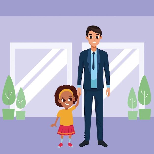 Padre soltero con caricatura de hija pequeña vector gratuito