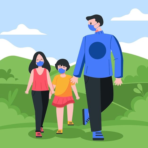 Padres caminando con niño con máscara vector gratuito