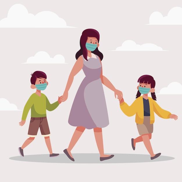 Padres caminando niños con máscaras médicas vector gratuito