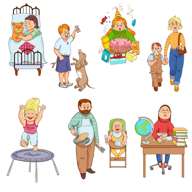 Padres cuidando a los niños y jugando con los niños estilo de dibujos animados feliz colección de iconos familiares vector gratuito