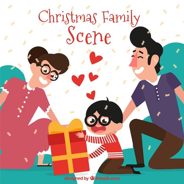 Padres dando a su hijo un regalo de navidad descargar - Regalos navidad padres ...