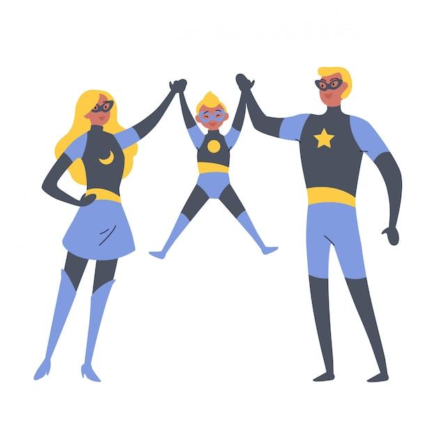 Padres e hijos jugando superhéroes, vestidos con trajes de superhéroes. Vector Premium
