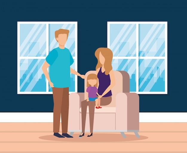 Padres con hija en la sala de estar vector gratuito