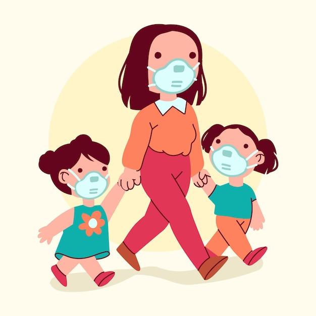 Padres con hijos ilustrados vector gratuito