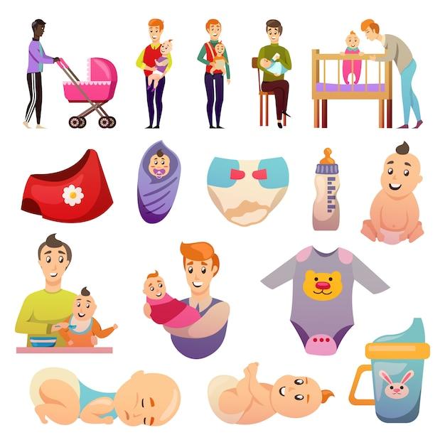 Padres iconos parentales de licencia ortogonal vector gratuito