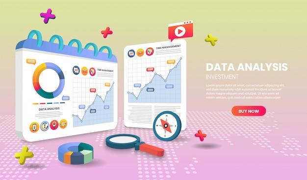 Página de aplicación de plantillas de página de aterrizaje de análisis de datos. para banner web, infografías, imágenes de héroes. imagen de héroe para el sitio web. Vector Premium