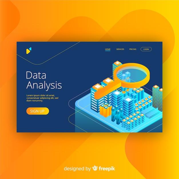 Página de aterrizaje de análisis de datos en estilo isométrico vector gratuito