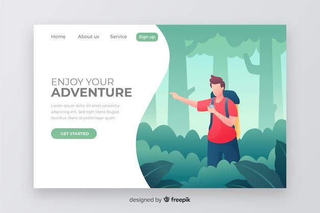 Página de aterrizaje de aventura vector gratuito
