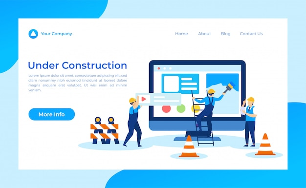 Página de aterrizaje en construcción Vector Premium