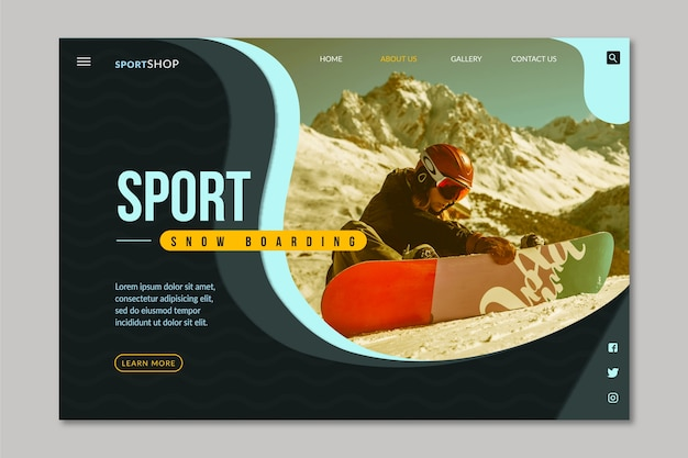 Página de aterrizaje deportiva con imagen vector gratuito