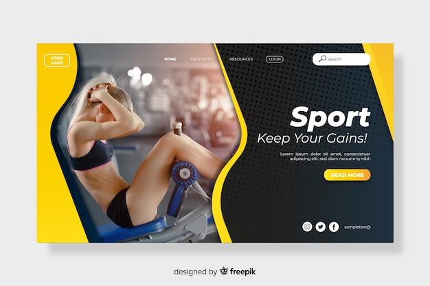 La página de aterrizaje deportiva mantiene tus ganancias vector gratuito