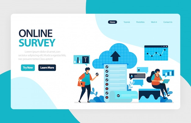 Página de aterrizaje de encuestas en línea Vector Premium