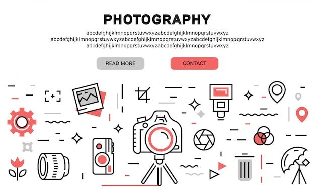Página de aterrizaje de fotografía Vector Premium