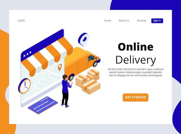 Página de aterrizaje isométrica de entrega en línea Vector Premium