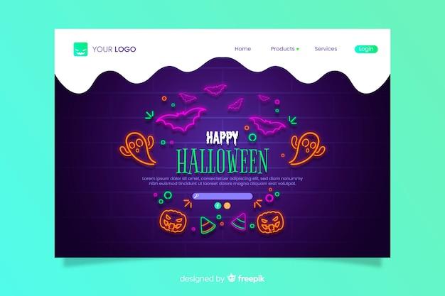 Página de aterrizaje de neón de halloween vector gratuito