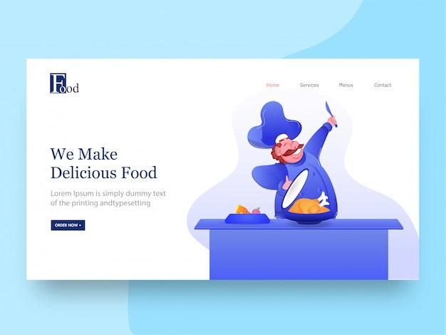 Página de aterrizaje con personaje de chef feliz presentando pollo para hacemos deliciosa comida. Vector Premium