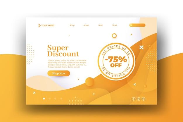 Página de aterrizaje web de super descuento vector gratuito