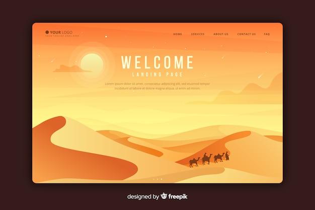 Página de bienvenida con paisaje degradado vector gratuito