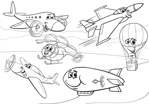 Página Para Colorear De Aviones Del Grupo De Aviones