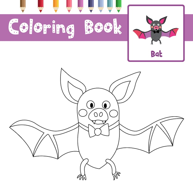 Página para colorear de bat | Descargar Vectores Premium